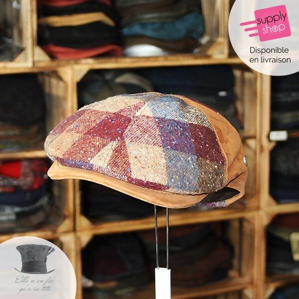 casquette tweed et cuir