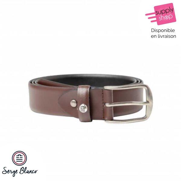 6363dccd078c1 Coffret ceinture en cuir réversible noir/marron Serge Blanco