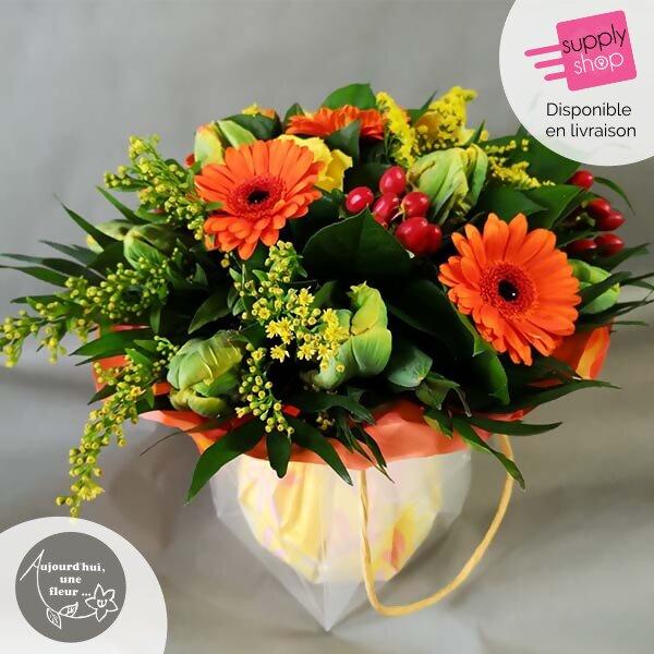 Bouquet rond coloré aujourd'hui une fleur caen