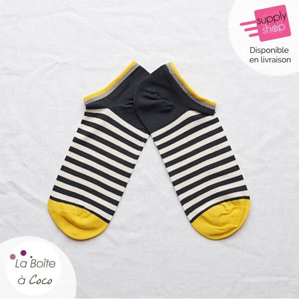 chaussette bleu marine rayé jaune et blanche la boite à coco caen 1