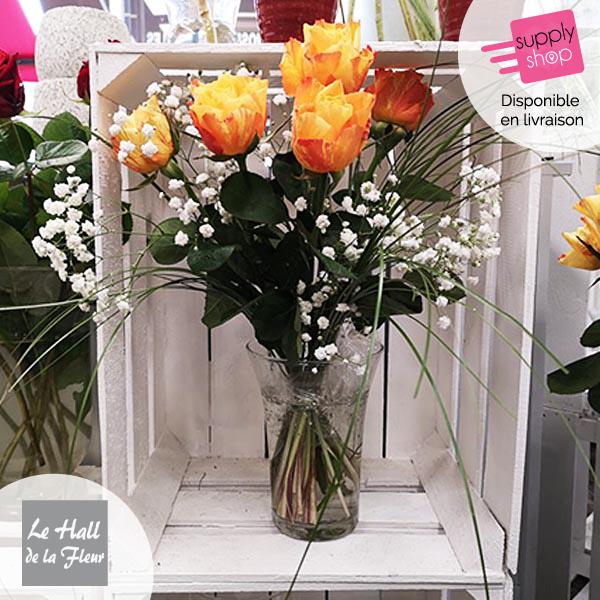 Bouquet de roses gypsophile hall de la fleur
