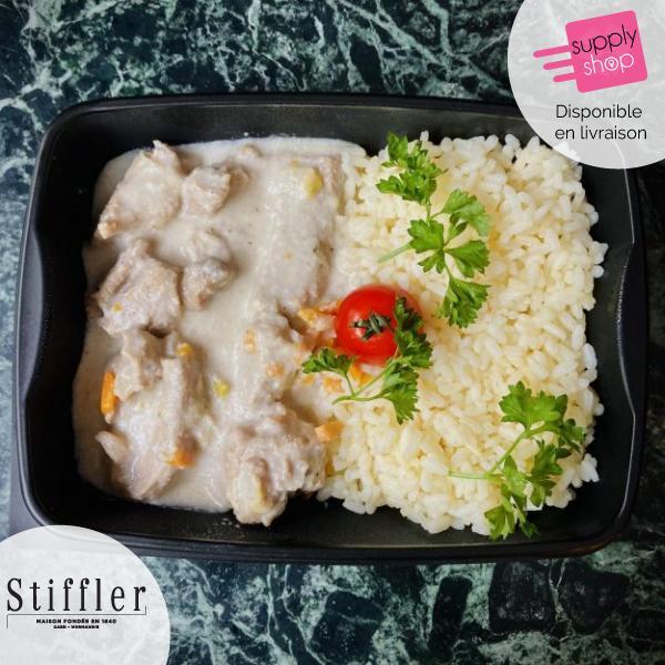 Plat du jour : Blanquette de veau, et riz à la crème Stiffler